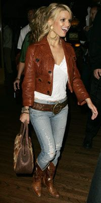 Jessica Simpson wearing D Squared jacket, Hollywood trading company belt