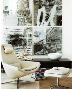 Love the gorgeous artwork in this living room Black And White Painting, Black And White Abstract, Black White, Contemporary Interior, Modern Interior Design, Artwork Display, Blog Deco, Mocca, Beautiful Interiors