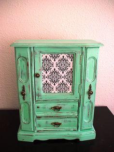 Beautiful Hand Painted Mint Wooden Jewelry Box by miloblukiki