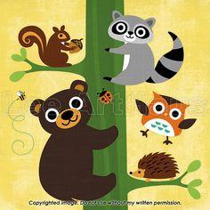 234B Bright Bear and Raccoon Climbing Tree 6x6 Print by leearthaus