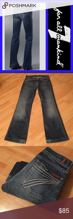"""7 for all mankind: Dojo - size 27 Tahiti Dojo in excellent condition!! These have factory distressing/fading/wrinkling throughout. They were made to look like your favorite pair of """"lived in"""" jeans:)!! Inseam: 30.5"""", Rise: 8"""", Leg opening: 20"""". They measure 13.5"""" across the waist when laying flat. Material: 98% cotton, 2% Lycra. These fit closer to a size 26. Be sure to compare measurements:) 7 For All Mankind Jeans Flare & Wide Leg"""