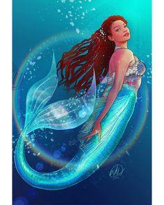 Disney Go, Disney Fan Art, Disney Girls, Disney Little Mermaids, Mermaids And Mermen, The Little Mermaid, Mermaid Drawings, Mermaid Art, Tiny Desk