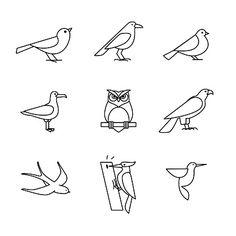 Oiseaux Ensemble d'icônes ligne mince - Illustration vectorielle