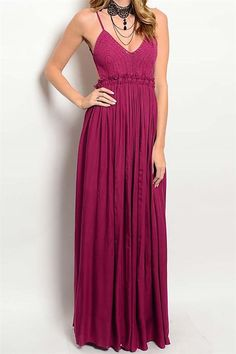 Elegant, flowing maxi dress with crocheted bodice. Low v-neckline, fully open back, and spaghetti straps. Lined bodice. Pair with wedges or pumps and your best clutch.   Robin Maxi Magenta by Compendium boutique. Clothing - Dresses - Maxi Pennsylvania