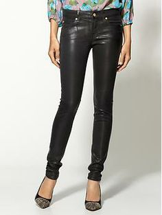 7 For All Mankind The High Shine Leather-Like Skinny Jeans | Piperlime