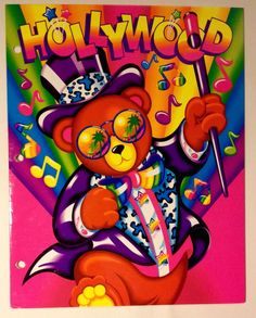 Vintage Lisa Frank Hollywood Bear 2 Pocket Folder 3 Ring Binder | eBay