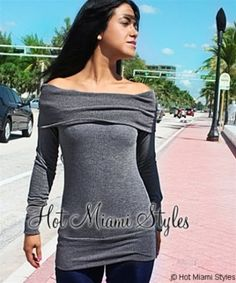 fa6eddee146ec Gray Off Shoulder Fold Over Sweater Top