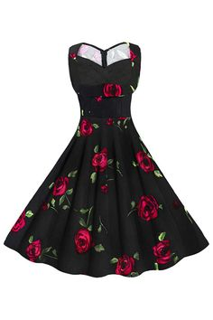 Womens vintage floral black sleeveless dress featuring elegant roses pattern with chic sweetheart neckline and bust with ruched accent.  https://atomicjaneclothing.com/products/atomic-vintage-floral-cut-out-sweetheart-neck-casual-party-cocktail-dress-1