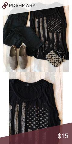 5f687e3e503 Black Cutoff American Flag Tank - Cutoff style sleeve - Metal star  embellishments - Fits oversized