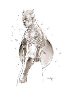 Captain America Pencil Sketch By Gabriele Dell'Otto #Comics #Illustration #Drawing