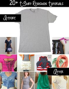 20+ t-shirt refashion tutorials!
