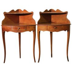 Pair of 1920s French Corner Bedside Tables in Leather | From a unique collection of antique and modern side tables at https://www.1stdibs.com/furniture/tables/side-tables/