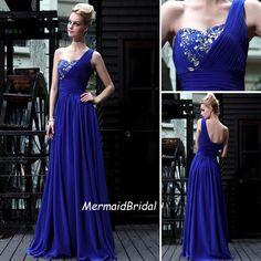 2013 One shoulder Royal blue prom dress Long Prom dress, V neck, Beading prom dresses, Evening dresses. $168.99, via Etsy.