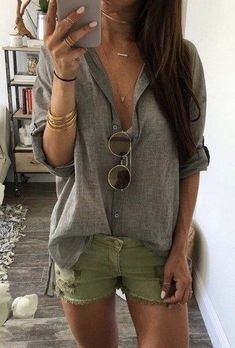 150 pretty casual shorts summer outfit combinations (119)