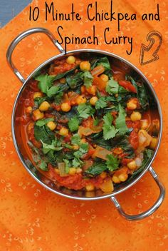 Minute Chickpea and Spinach Curry Yummy meal! 10 Minute Chickpea and Spinach CurryYummy meal! 10 Minute Chickpea and Spinach Curry Chickpea Recipes, Veggie Recipes, Indian Food Recipes, Vegetarian Recipes, Cooking Recipes, Healthy Recipes, Turkish Recipes, Vegetarian Dinners, Veggie Dishes