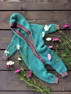 Knitted jumpsuit for a baby |  Купить детский комбинезон - морская волна, детский комбинезон, вязанный комбинезон, вязание спицами