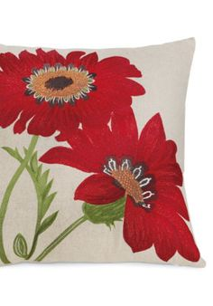 Crimson Flower Throw Pillow.