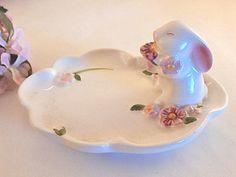 White Rabbit Trinket Dish Bunny Ring Holder by SpringJewelryThings