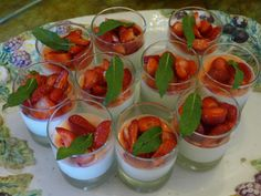 Panna cotta, strawberries and a mint leave  one of the desert at Villa le Barone in Chianti