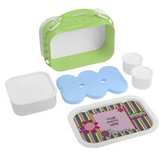 Grandmas Garden Stripes Kids Lunch Box #zazzle #lunchbox #grandmas #garden #stripes #photogifts