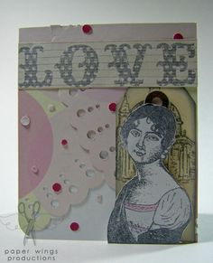 Card using @PaperWingsProd stamps.  Love from My Mind's Eye paper.