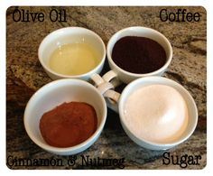 Coffee Scrub:  Mix Together {this recipe fills 4 of those little 4 oz. mason jars}    1 cup ground coffee (any that you like, I used regular coffee, no special flavoring)  1 cup white sugar  1/2 cup olive oil  1 Tbsp ground cinnamon  1 tsp nutmeg    How to Use:  Apply scrub over clean, damp skin.  Rinse and pat dry.