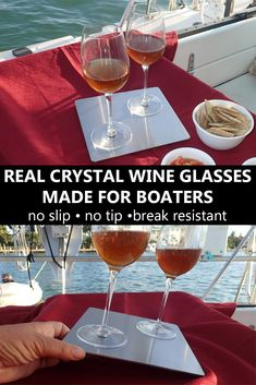 Yes, it's possible to use real crystal wine glasses on a boat. Royal Stabilis has created a no-slip, no tip and break resistant set. via @TheBoatGalley