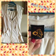 FREE PEOPLE short sleeved hooded sweater FREE PEOPLE sweater with hood. Size Large but could easily fit a Medium. Off white/Cream. Open to trades/offers. Free People Tops Sweatshirts & Hoodies