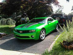 Hot green car.