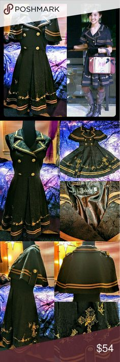 "🎩Victorian Steampunk Brocade Lolita Coat Dress⌚ Only worn a couple times to steampunk conventions and special outings (pictured Demonia 👢boots also for sale!). High quality for cosplay, but can definitely wear as regular outfit!  Deatachable cape to wear as a sleeveless dress with built in coat. Plastic buttons, beautiful embroidered crosses and butterflies, brocade detail. Side-zip, Asian L, fits S/M.   Measurements: Chest: 17"", Waist: 14"", Length: 36"" Dresses"