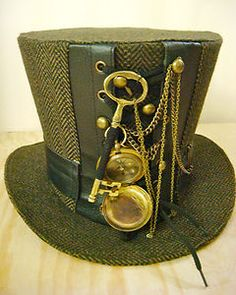 Steampunk madhatter Handmade tweed Tophat with compass and key | eBay