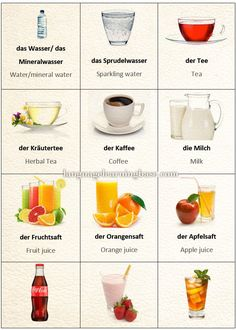 Learn German with Pictures: Drinks. - learn German,german,vocabulary,pictures,drinks,food