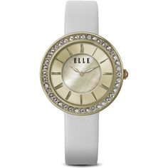 ELLE Watch - W1291 - TRANSIT Ion Plated Gold and Swarovski Crystal... ($175) ❤ liked on Polyvore featuring jewelry, watches, white wrist watch, white watches, dial watches, swarovski crystal watches and mother of pearl watches