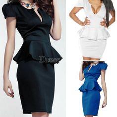 New Sexy Ladies Cap Sleeve V Neck Peplum Skirt Knee Length Women's Mini Dress