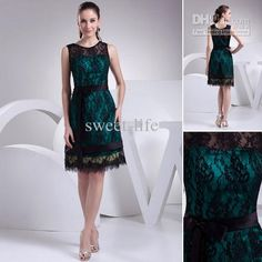 Wholesale 2013 Black Spaghetti Straps Scoop Lace Sash A-Line Knee Length Mother of the Bride Dresses WD4-178, Free shipping, $89.6-109.76/Piece | DHgate