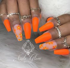 42 Beautiful Acrylic Coffin – Ballerina Nails Design Ideas This Summer - Page 6 of 42 - Latest Fashion Trends For Woman Orange Acrylic Nails, Summer Acrylic Nails, Best Acrylic Nails, Orange Nails, Summer Nails, Nail Design Glitter, Nail Design Spring, Nails Design, Orange Nail Designs