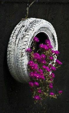 Old tire recycled as a hanging planter