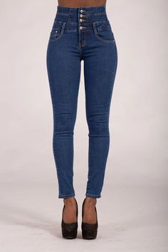 Laura Blue High Waist Jeans – Lusty Chic High Jeans, High Waist Jeans, Blue Skinny Jeans, Denim Jeans, Jeans Size, Trousers, Legs, Model, How To Wear