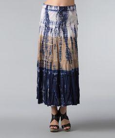This Vasna Navy & Tan Tie-Dye Maxi Skirt - Women by Vasna is perfect! #zulilyfinds