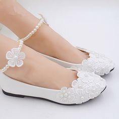 "3"" 4 "" heel white ivory lace crystal pearls Wedding shoes pumps bride size 5-11 #WhiteLaceBeadingWeddingShoes #PartyWeddingBalletetc"