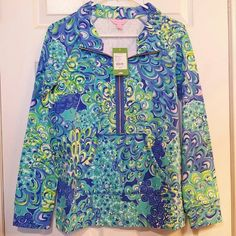 Lilly Pulitzer Lilly's Lagoon Skipper Popover S Lilly Pulitzer Sea Blue Lilly's Lagoon Skipper popover, size S, NWT. Lilly Pulitzer Tops Sweatshirts & Hoodies