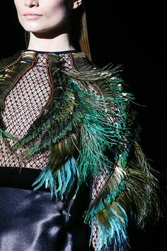 ~Winter Wings~  Fishnet with Feathers embellishments Sleeves  #fashion #trends for Fall Winter 2013 Gucci F/W  2013