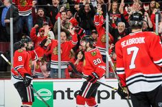 Saad celebrating after finally scoring in the playoffs!  It was a beauty, too.