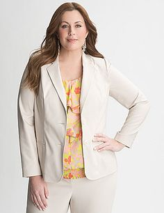 Project professional polish with our double weave stretch suit jacket. Synthetic double-woven construction is ultra durable with an elegant polish that takes you anywhere, and stretches to fit without stretching out! Make a wow-worthy power suit when you pair it with the Double Weave Stretch Suit Pant (sold separately). lanebryant.com
