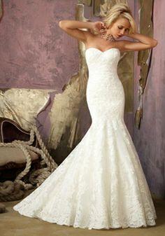Trumpet Sweetheart Chapel Train Lace Sleeveless Wedding Dress YEP THIS IS IT