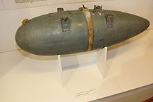 A standard 300 litre drop tank from a Bf 109 - similar in appearance to those used by the Ju 87R.