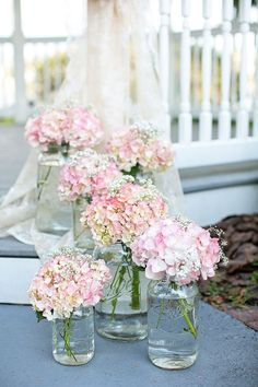hydrangea  and baby's breath mason jar | Mason Jars and Pink Hydrangea