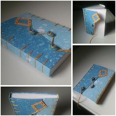 belgian book binding / handmade / bleu / diy / Šarkan v oblakoch (zapisnik A6)