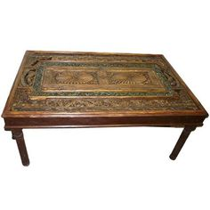"""Antique India Dining Table Teak Furniture Hand Carved Chakra Rust Green Patina 74""""x48""""x32"""": Home & Kitchen   $2,950.00"""