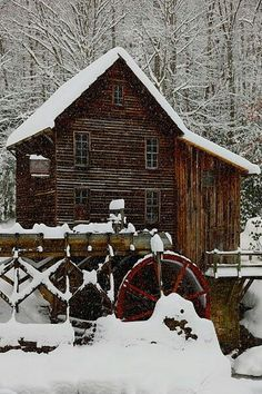 Grist mill, West Virginia not a barn, but great anyway! Winter Snow, Winter Time, Winter Cabin, Virginia Occidental, Water Mill, Water Water, Winter Scenery, Snow Scenes, Old Barns